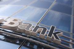 Bank sign. On the modern building stock images