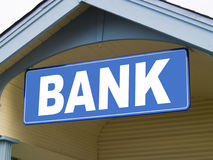 Bank Sign. A close up on a sign with the word BANK on it Stock Photography