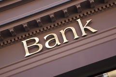 Bank Sign. On Branch Facade stock photo