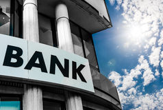Bank Sign. On a building royalty free stock photo