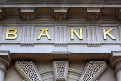 Bank sign on building Stock Photography