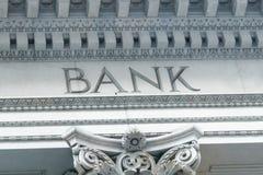 Bank Sign in a building classic facade. Bank Sign in a building classic vintage facade royalty free stock photography