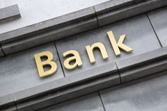 Bank Sign on Building Facade Stock Photos