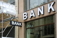 Bank Sign. At Building in Vienna Austria stock images