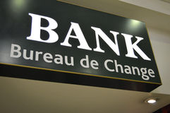 Bank Sign - Bureau de Change Royalty Free Stock Photo