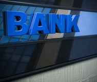 Bank sign on a facade Stock Images