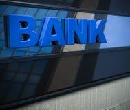 Bank sign on a facade. 3D bank sign on a facade stock illustration