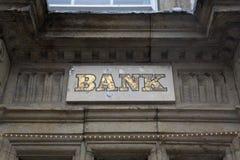 Bank Sign on Facade. Bank Sign on Stone Facade Royalty Free Stock Image