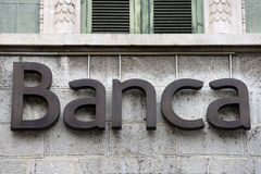 Bank sign on the facade of an italian bank Stock Photos