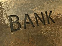 Bank sign on a golden plate Royalty Free Stock Photo