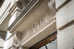Bank Sign logo. Stone Background royalty free stock photos