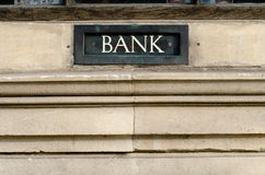 Bank sign painted on letterbox in wall Royalty Free Stock Image
