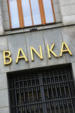 Bank sign in Prague. Vertical royalty free stock photos