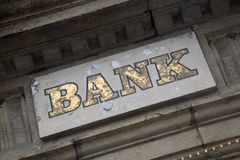 Bank Sign on Stone Facade. Bank Sign on Stone Building Facade Royalty Free Stock Photography
