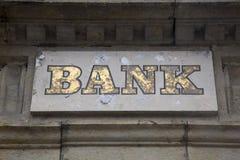 Bank Sign on Stone Facade. Bank Sign on Stone Building Facade Stock Image