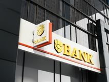 Bank signboard with fictitious logo on building exterior. 3D illustration.  vector illustration