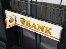 Bank signboard with fictitious logo on building exterior. 3D illustration.  royalty free illustration