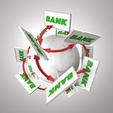 Bank Signs Around Sphere Arrows Connecting Banking Financial Ins. Titutions 3d Illustration Stock Image