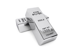 Bank Silver Bars Stock Image