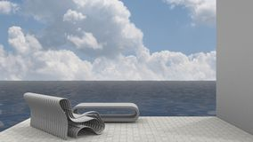 Bank-Sitz und Ozean-Brise Lizenzfreie Stockfotografie