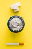 Bank of soda and sugar cubes junk food Royalty Free Stock Photo