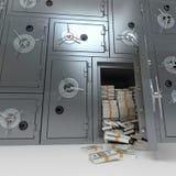 Bank som är säker mycket av dollar Arkivfoto