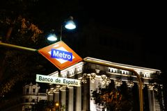 Bank of spain metro station sign, Madrid. Royalty Free Stock Photography