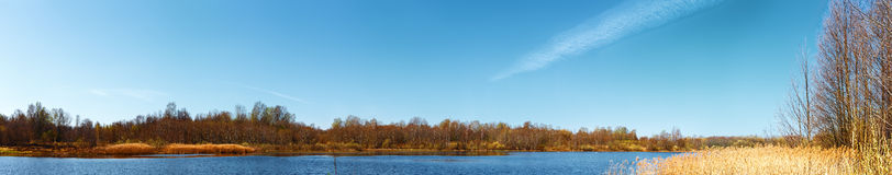 On the bank of the springtime lake. Stitched Panorama of lake. Vitebsk region.2013 spring. Belarus Stock Image