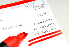 Bank statement. On a grey bank desk Stock Images