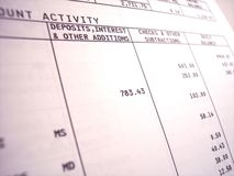 Bank statement. Closeup of a bank statement focusing on withdrawals and deposits stock photos