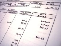 Bank statement stock photo