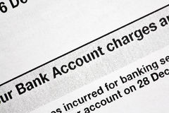 Bank Statement. A close-up of a bank statement showing bank charges Royalty Free Stock Photo