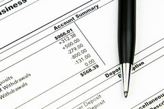 Bank Statement. A business account monthly bank statement ready to be balanced Stock Images