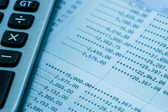 Bank statement with calculator Stock Photography