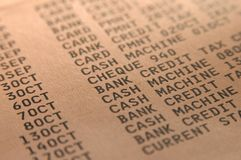 Bank statement close-up. Macro close up of personal bank statement royalty free stock images