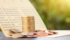 Bank statement with Stacks of coins Royalty Free Stock Photo