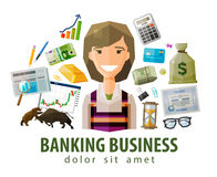 Bank, stock exchange, business vector logo design Royalty Free Stock Photos