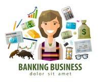 Bank, stock exchange, business vector logo design Royalty Free Stock Photos