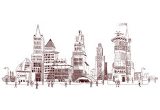 Bank street illustration City collection Royalty Free Stock Photo