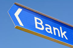Bank street sign post Stock Photos