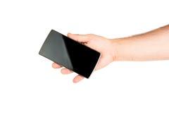 bank tła ręka trzymająca zauważy smartphone zdjęcia stock