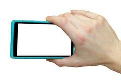 bank tła ręka trzymająca zauważy smartphone Strzelać z smartphone Obrazy Stock