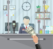 Bank teller behind the window Royalty Free Stock Images