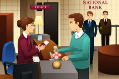 Bank teller servicing a customer in the bank. A vector illustration of bank teller servicing a customer in the bank Royalty Free Stock Photos