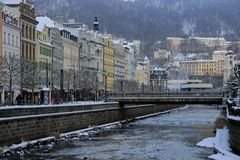 Bank of the Tepla river in Karlovy Vary. Winter Royalty Free Stock Photography