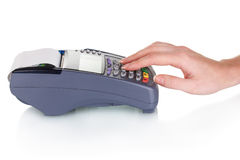 Bank terminal and hand Royalty Free Stock Photos