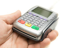 Bank terminal in a man's hand Stock Images