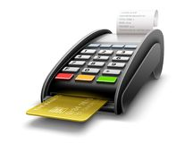 Bank terminal for payments by card processing Stock Image