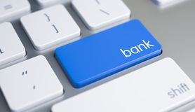 Bank - Text on the Blue Keyboard Button. 3D. High Quality Render of a White Keyboard Keypad. The Button is Blue in Color and there is Text Bank on It. Online Royalty Free Stock Images