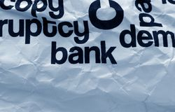 Bank text on crinkled paper. Close up of Bank text on crinkled paper Royalty Free Stock Photo